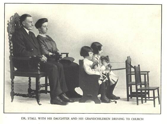 Dr. Stall with his daughter and grandchildren driving to church [seated in chairs in playroom]